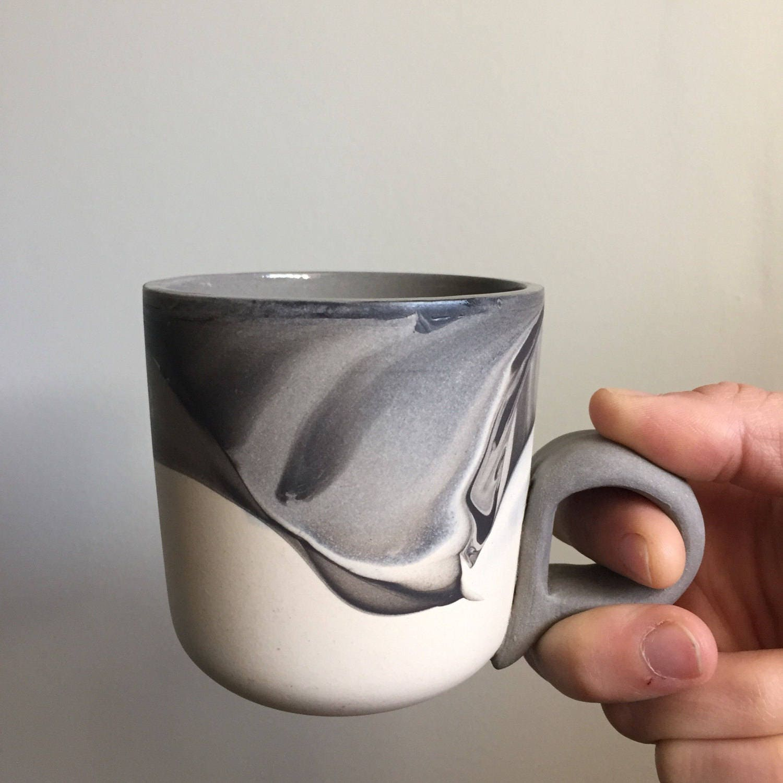 Numo - El Grande 15 Ounce Black Ceramic Mug  |Black Stoneware Pottery Mug
