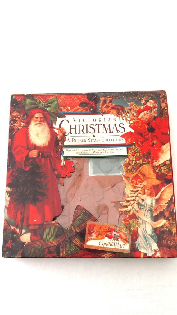 Vintage Victorian Christmas Rubber Stamp Collection Card   Etsy