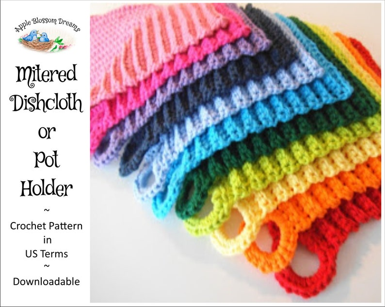 Mitered Dishcloth/Potholder  Crochet Pattern Instant image 0