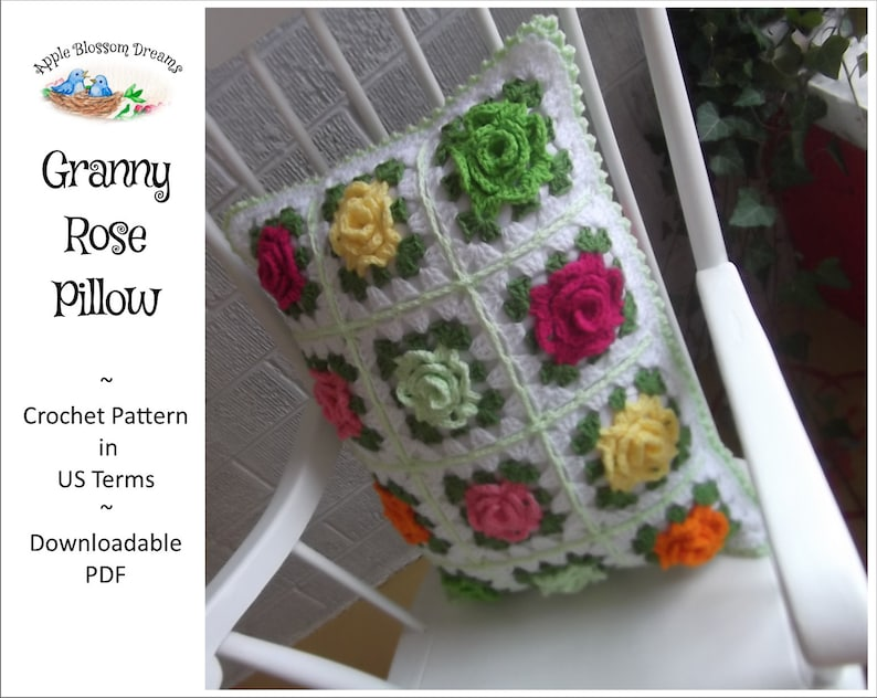 Granny Rose Pillow  Crochet Pattern Instant Download image 0
