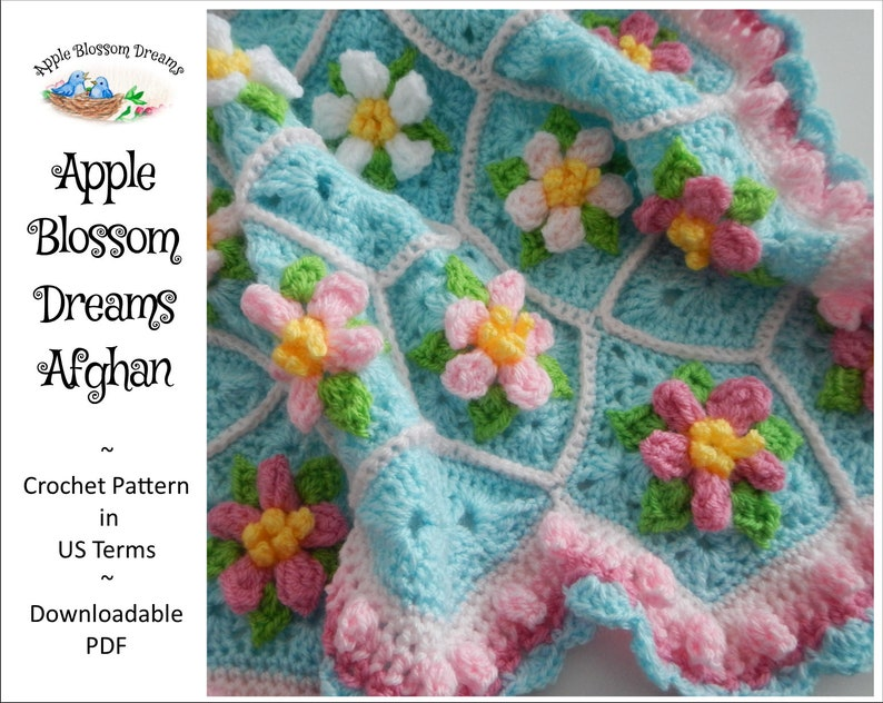 Apple Blossom Dreams Afghan  Crochet Pattern Instant image 0