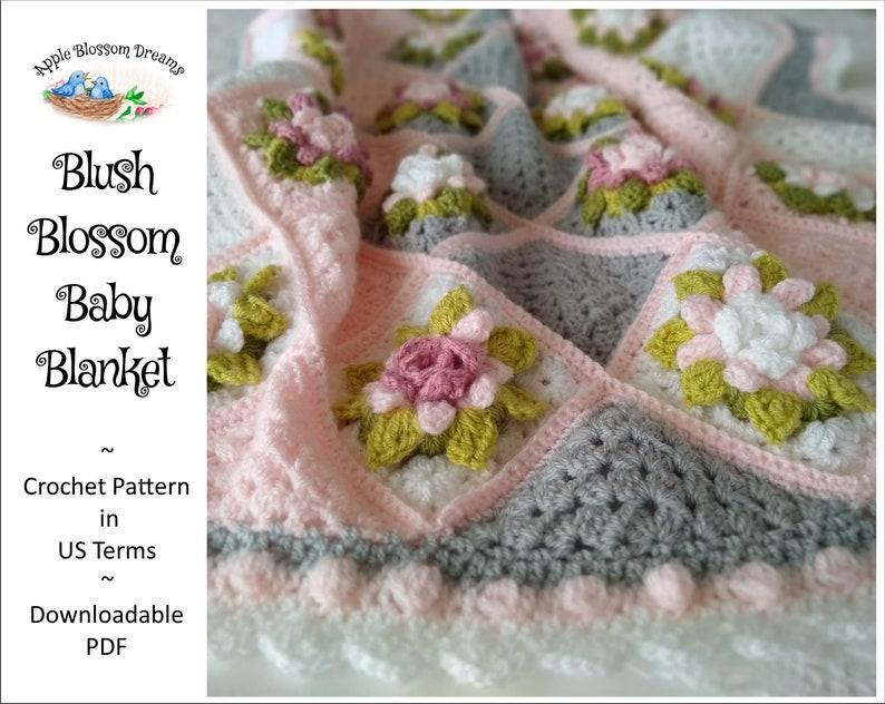 Blush Blossom Baby Blanket  Crochet Pattern Instant image 0