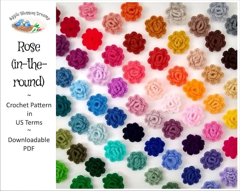 Rose in-the-round  Crochet Pattern Instant Download image 0