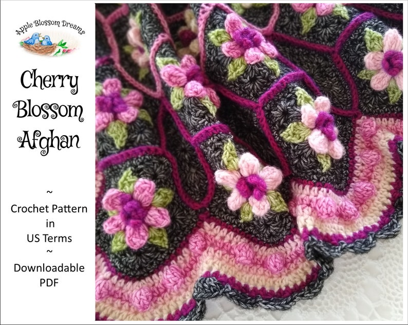 Cherry Blossom Afghan  Crochet Pattern Instant Download image 0