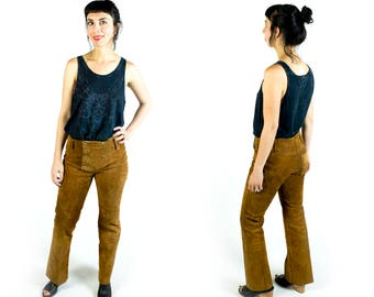 Vintage Siena Brown Suede Snap Front High Waisted Boot Cut Bell Bottoms Pants // Fits Like Size 26