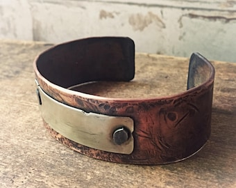 Forged Copper Cuff Bracelet, Wide Copper Cuff Gift for Husband or Boyfriend Gift, Engraved Bracelets Rustic Copper, Anniversary Gift for Men