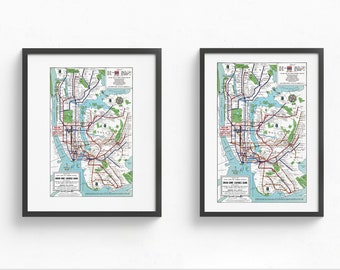 Framed New York Subway Map.Nyc Subway Map Etsy