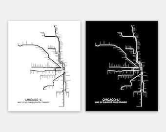Cta Subway Map Chicago.Chicago L Map Etsy