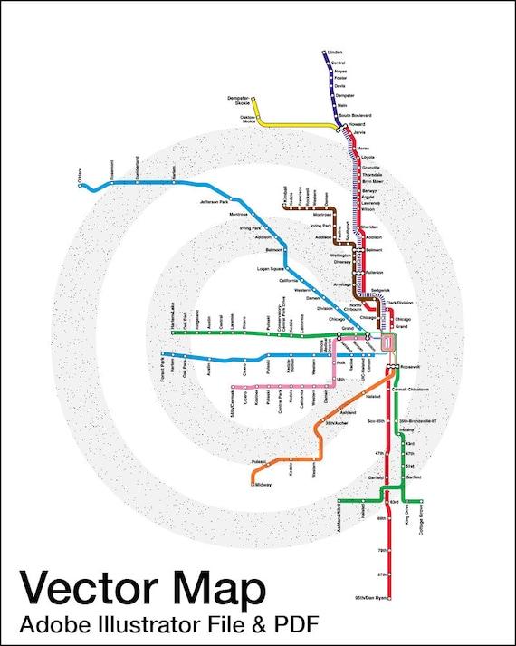 Cta Subway Map Chicago.Vector Download Chicago Cta Map Chicago Train Map Chicago Map Printable