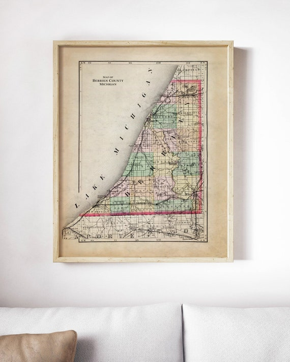 New Buffalo Michigan Map.Vintage Berrien County Michigan Map New Buffalo Three Oaks Etsy