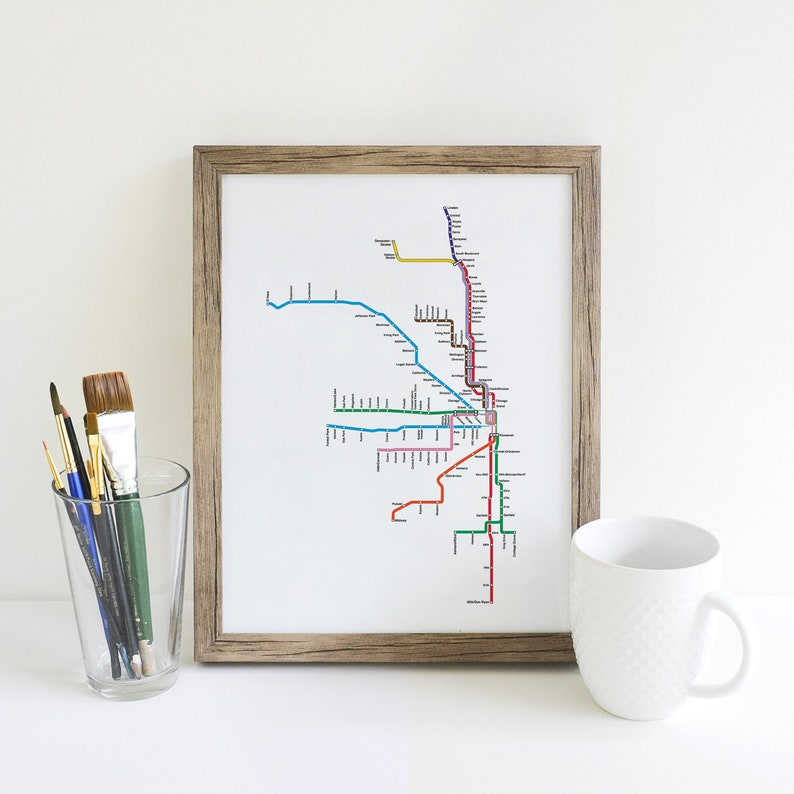 Train In Chicago Map.Vector Download Chicago Cta Map Chicago Train Map Chicago Etsy