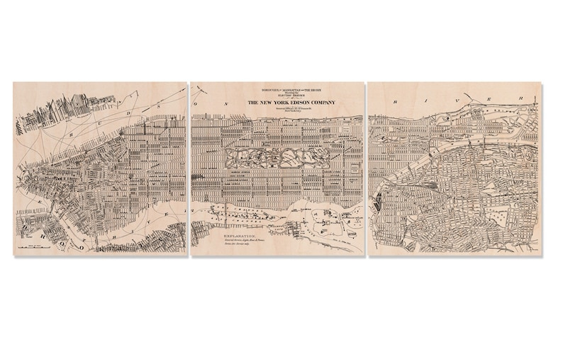 Vintage New York City Map On 20 X 60 Three Panel Split Etsy