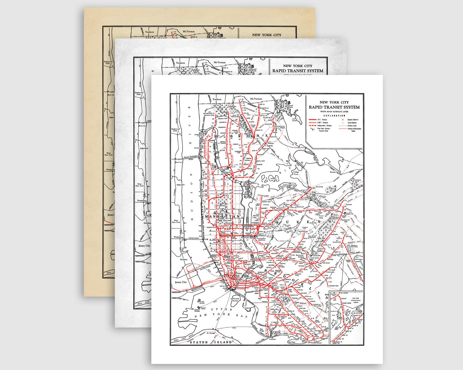 Vintage New York City Subway Map.Printable New York City Subway Map Nyc Subway Map Download