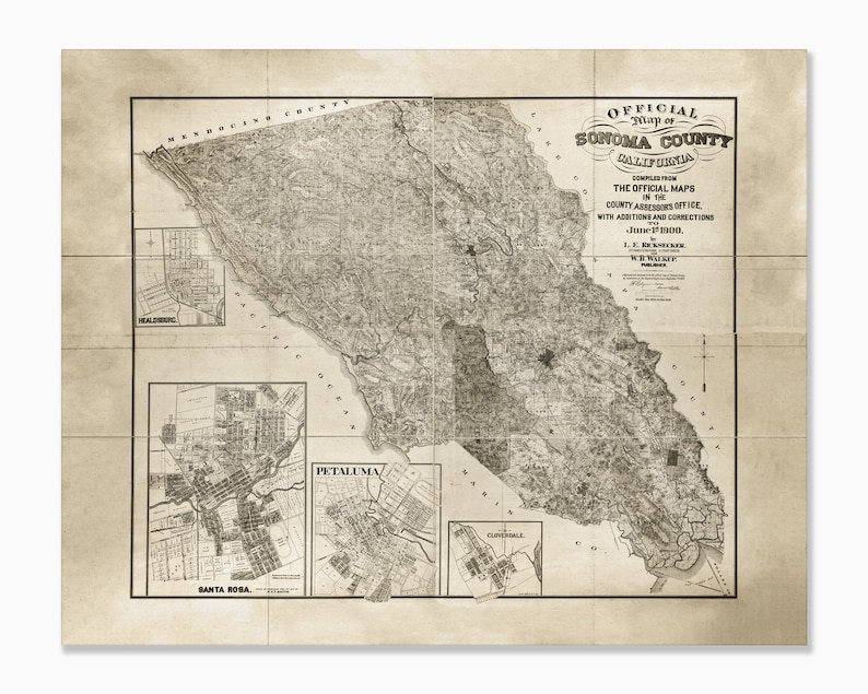Sonoma Valley California Map.Large Sonoma County Map Sonoma Map Print Sonoma Valley Sonoma County Art Sonoma County California 24x30 30x40 36x48 45x60