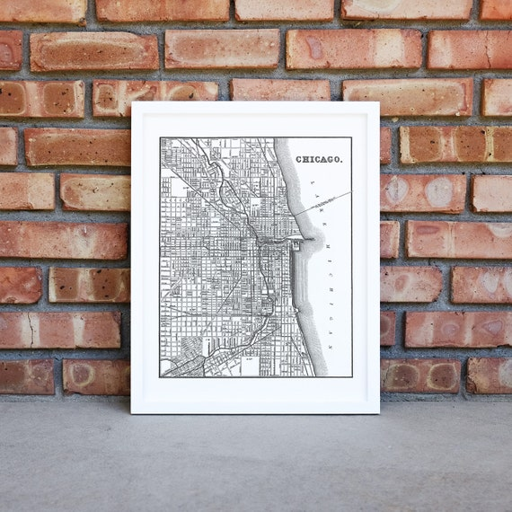 Chicago Map Canvas.Chicago Map Print Chicago Wall Art Chicago Canvas Art Etsy