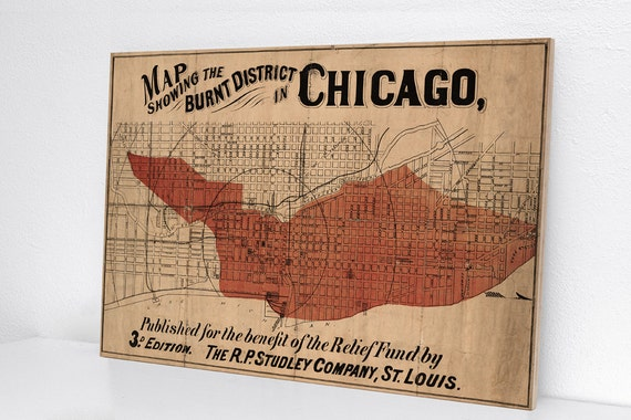 Great Chicago Fire Vintage Inspired Solid Maple Wood Sign Etsy