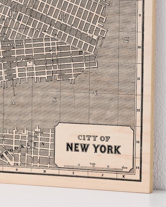 New York City Wood Print Map Vintage Home Decor Map Art