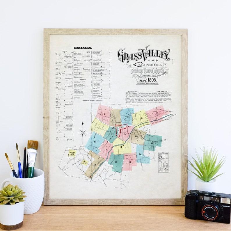 Vintage Grass Valley California Map Art Print
