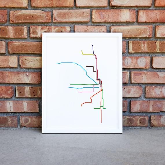PRINTABLE - Chicago CTA Map, Chicago Train Map, Chicago Wall Art, Chicago  Printable Art