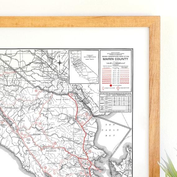 Marin County California Map Marin County Art Marin County Etsy