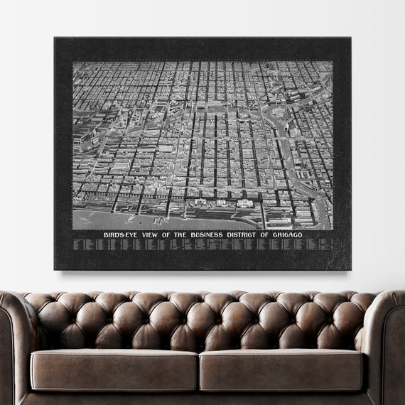 Chicago Map Canvas.40x50 Chicago Canvas Wall Art Map Chicago Map Canvas Etsy