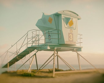 Lifeguard Tower Photography Print and Canvas Wrap, Malibu California Lifeguard Stand, Lifeguard Station #3, Vintage Art & Home Decor