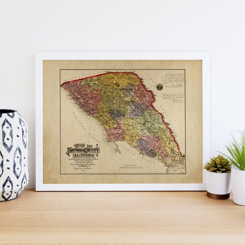 Sonoma Valley California Map.Sonoma County Map Sonoma Map Print Sonoma Valley Map Sonoma County Art Print 24x30 30x40 40x50