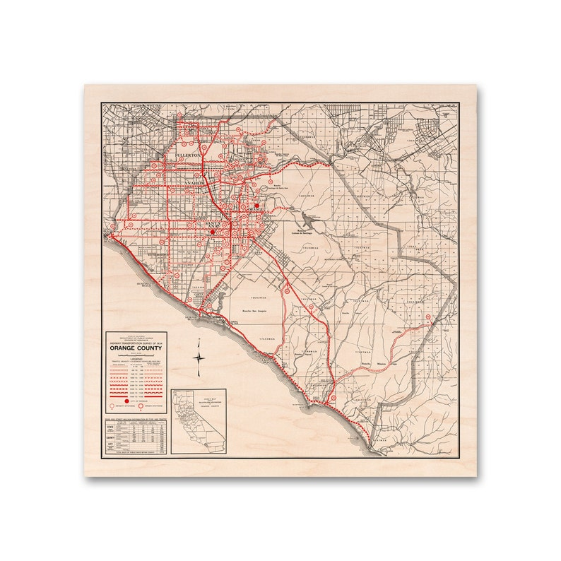 picture regarding Printable Map of Orange County Ca referred to as Orange County, Maple Wooden Print Map, 1934 California Map, Dwelling Decor, Wall Artwork
