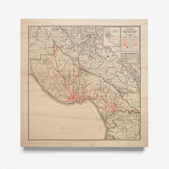 Santa Cruz County Map Maple Wood Map 1934 California Map Etsy