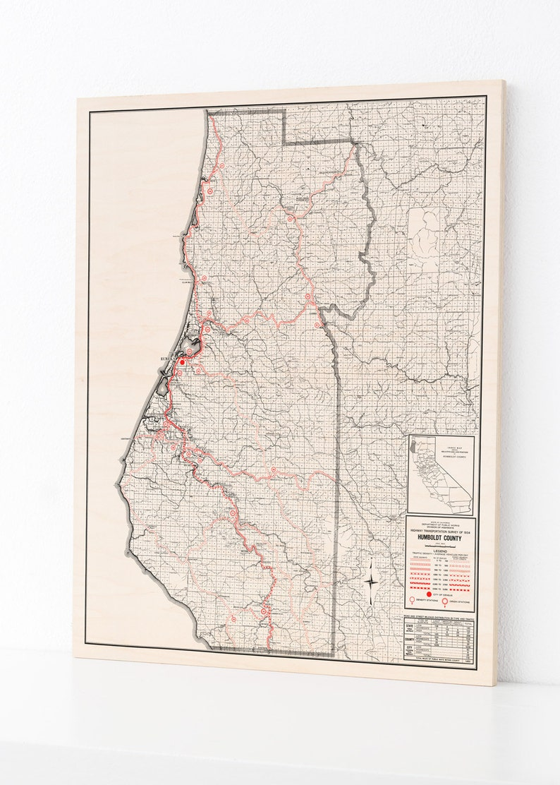 Wood Print Map Humboldt County California Home Decor Map Etsy