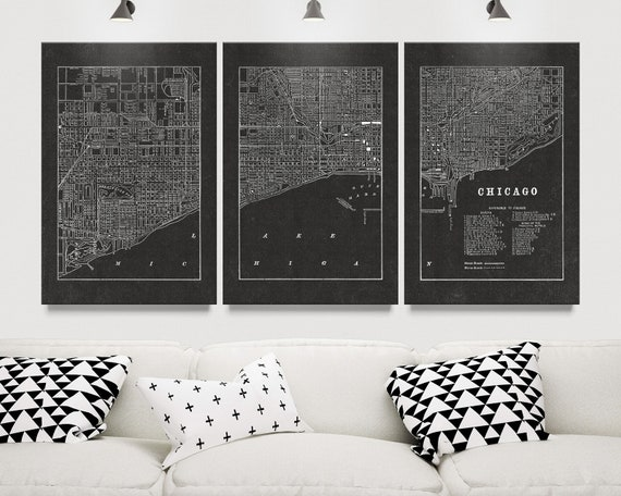 Vintage Chicago Wall Art Canvas Map | Etsy
