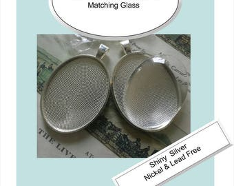 10 x Pendant 40mm Stainless Steel /& Matching Magnifying GLASS /& BAIL Non Tarnish