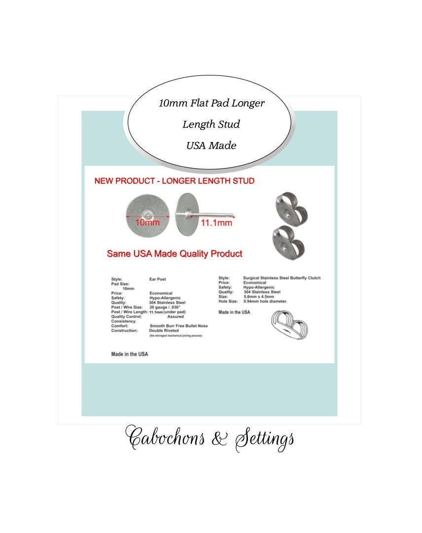 144 Earring 10mm Pad LONGER Stud Posts & backs Hypoallergenic Surgical Steel USA Jewellery & Watches