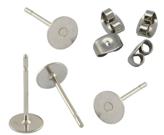 500 Earring Studs Posts Nickel /& Lead Free 6mm Pad /& Clutch Backs BUDGET RANGE