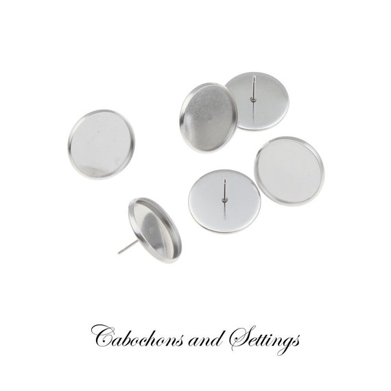 100 Stud Totally Stainless Steel Earring with Bezel for 6mm Flatback