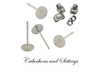 100 Surgical Steel Earring Stud Posts 6mm Glue Pad Hypo-allergenic , Stainless Steel Clutch Budget Range  -  Posts From AUSTRALIA