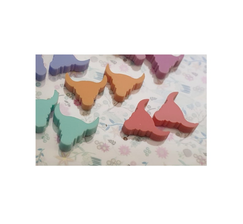 10  Laser Cut 12mm Long Horn Bulls Head Flat Back Acrylic Pastel Colours