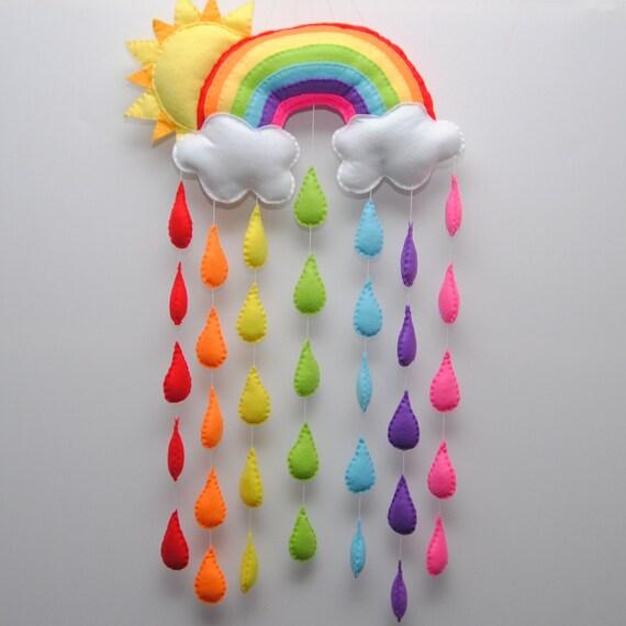 Sole E Colore Mobili.Sole E Mobile Del Bambino Arcobaleno Colori Vivaci Gocce Di Pioggia Reso Al Presepe Di Ordine Vivaio Mobile Mobile Scegli I Colori