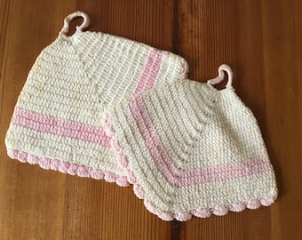 Vintage Pink and Cream Crochet Pot Holders