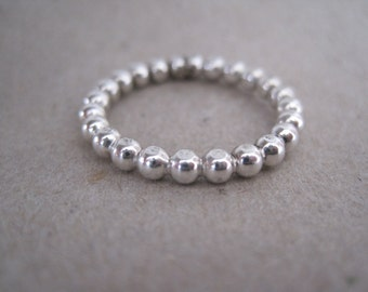 Sterling Silver Beaded Stacking Ring - Made to Order