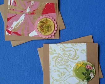 Paper handmade greeting cards etsy two handmade greeting cards with birds flowers glitter rhinestones recycled kraft paper cards with recycled handmade paper m4hsunfo