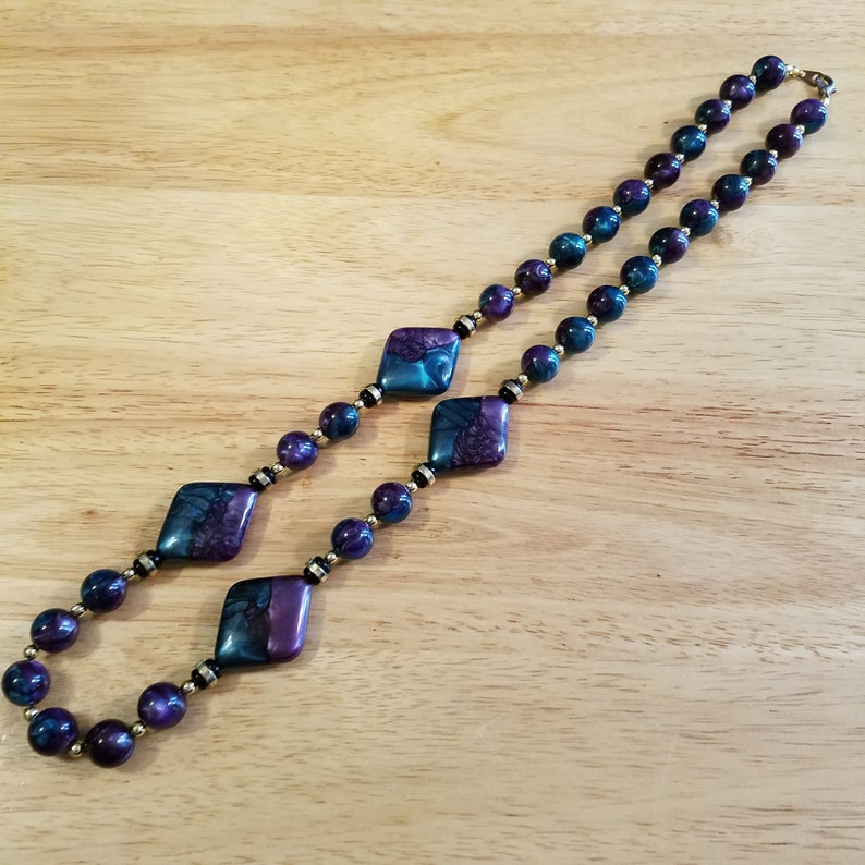 Vintage Teal and Purple Beaded Necklace vintage plastic statement necklace 26 inch vintage necklace