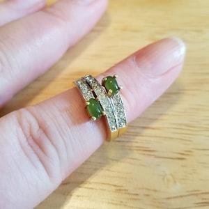 Vintage Esposito Faux Diamond Engagement Ring 18KT HGE size 7.25 8.5 or 8.75 signed Espo