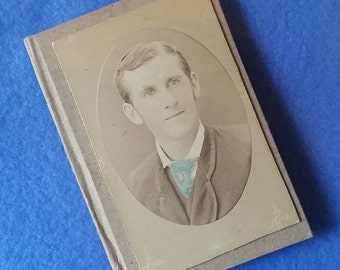 Antique Photo Mini Journal - recycled paper with handcolored upcycled vintage portrait