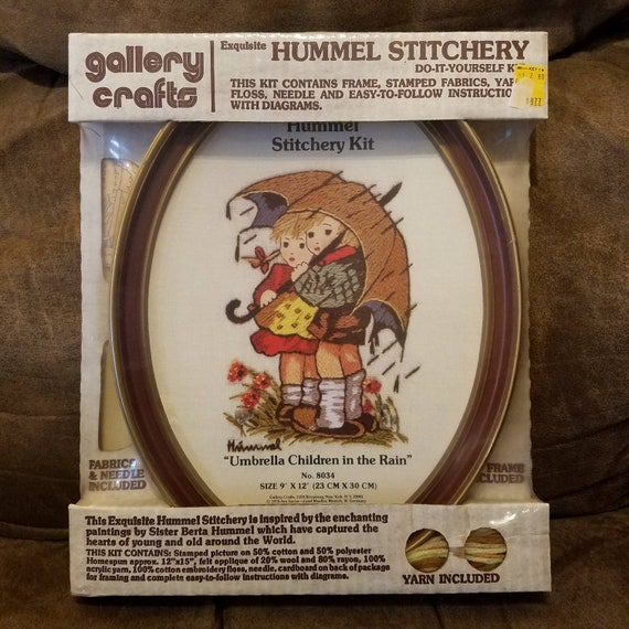 new in package NIP frame included 8034 Hummel Stitchery Kit by Gallery Crafts Umbrella Children in the Rain no