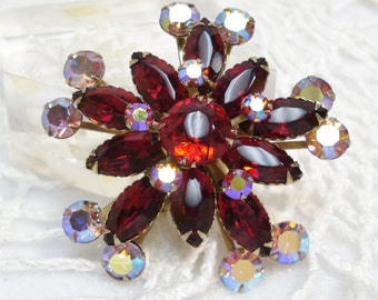 Large Red And Pink Aurora Borealis Brooch Gorgeous