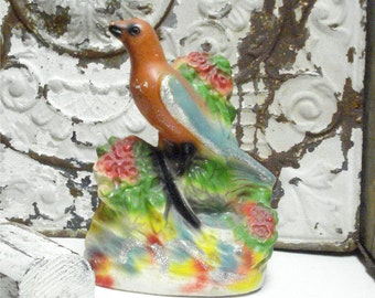 Chalkware BIRD Flower Carnival Prize Glitter