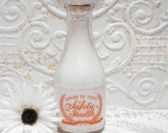 Quart Milk Bottle Serving Safety Health Dairy Distributers Slogan