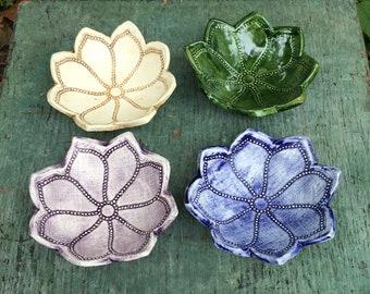 Lotus Petal Ring Dish, Small Decorative Bowl, Ceramic Lotus Bowl, Jewelry Organizer, Home Decor Bowl