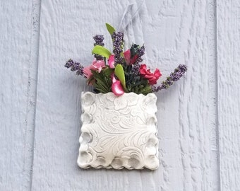 Floral Pottery Wall Pocket, Hanging Pottery, Hanging Plant Vase, Farmhouse Wall Decor, Mothers Day Gift